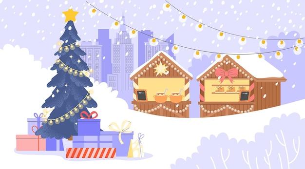 Плоские векторные иллюстрации с большой рождественской елкой с подарками и прилавками на заднем плане