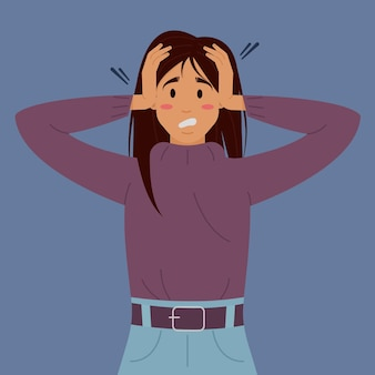 Flat vector illustration with a womans mental disorderthe panicked girl holds her head