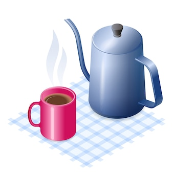 Flat vector isometric illustration of ceramic mug of coffee and metal coffeepot.