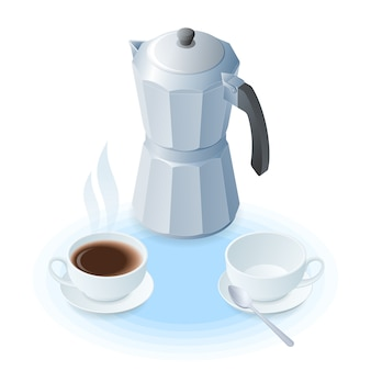 Flat vector isometric illustration of coffee maker, ceramic cups.