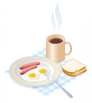 Flat vector isometric illustration of dish with scrambled eggs and pork sausages, a cup of coffee.