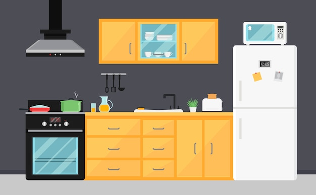 Flat vector kitchen with electric appliances, sink, furniture and dishes.