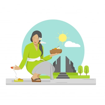 Flat vector of praying balinese woman