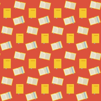 Flat vector seamless pattern many books. flat style texture background. knowledge science and education template. back to school.