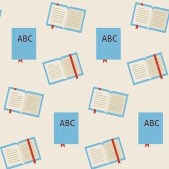 フラットベクトルシームレスパターン学校と図書館の読書本。フラットスタイルのテクスチャ背景。知識科学と教育のテンプレート。学校に戻る。