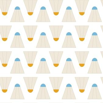 Плоские векторные бесшовные модели спорт бадминтон воланы. предпосылка текстуры плоского стиля безшовная. шаблон спортивной и игровой игры. здоровый образ жизни. спорт и отдых