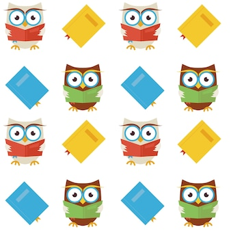 Flat vector seamless pattern wisdom and knowledge owls reading books. modern flat style vector texture background. knowledge template. back to school. wisdom bird owl with book with bookmark