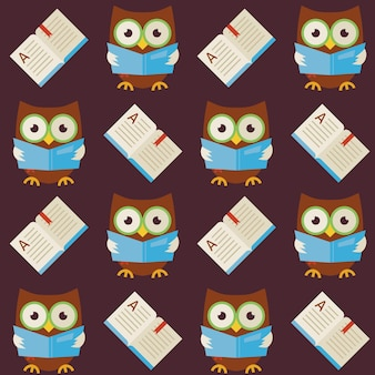 Flat vector seamless pattern wisdom owl reading book. modern flat style vector texture background. knowledge template. back to school. wisdom bird owl with open book with bookmark
