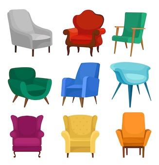 Flat vector set of armchairs. vintage and modern chairs with soft upholstery.