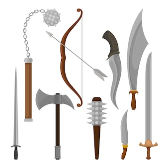 Flat vector set of medieval weapon.