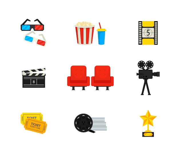 Flat vector set of movie theater and cinema icons.