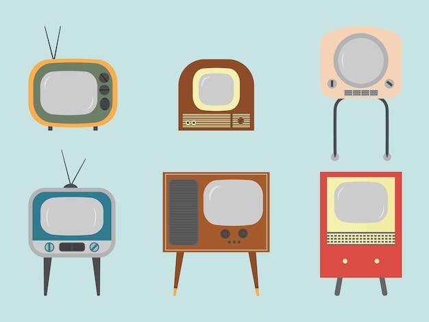 다채로운 빈티지 tv의 평면 벡터 세트