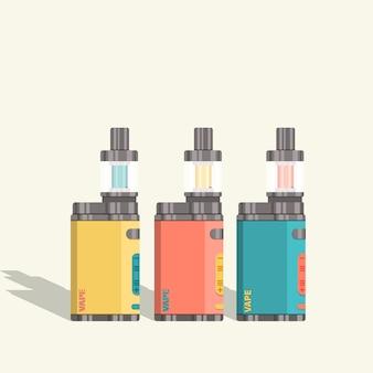 전자 담배의 평면 벡터 집합입니다. vaping을위한 최신 장치.