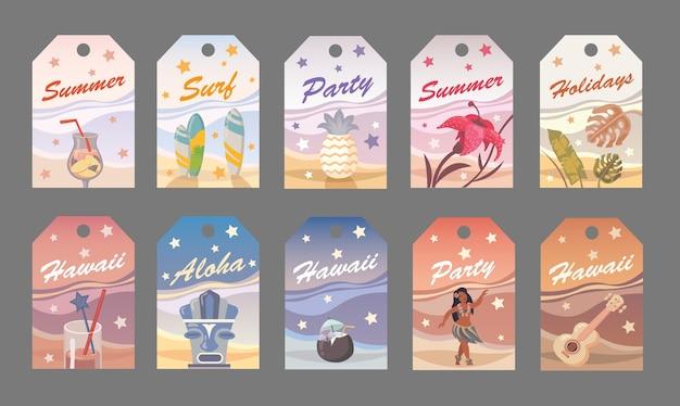 하와이안 스타일의 평면 벡터 여름 태그. 파티, 서핑, 휴일, 알로하