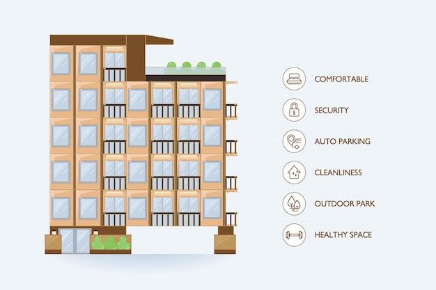 Flat vector urban building and icon facilities for condominium.