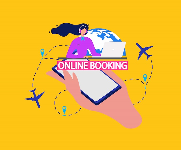 Авиабилеты сервис онлайн-бронирования flat vector
