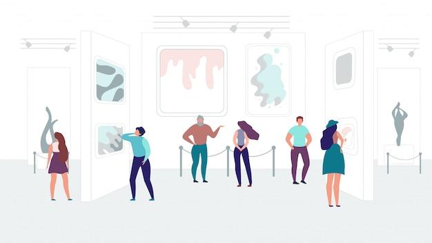 Современная выставка абстрактного искусства flat vector