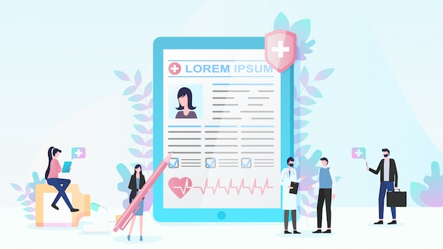 Медицинское страхование и медицинские услуги flat vector