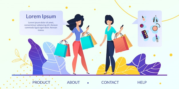 Интернет-магазин женских товаров flat vector веб-сайт