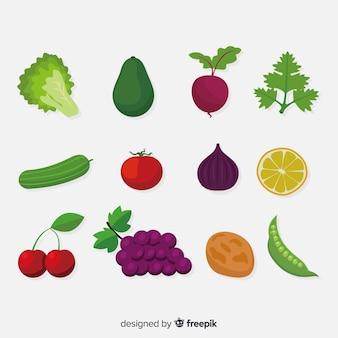 플랫 야채와 과일 배경