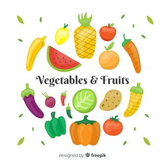 Flat vegetable and fruits background