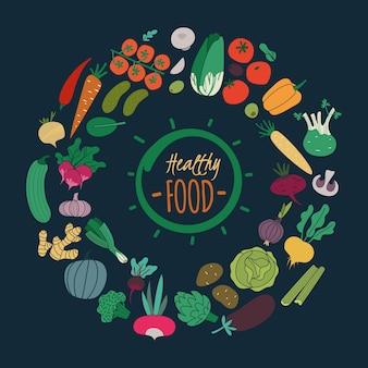 平らな野菜。ニンジンタマネギキュウリトマトポテトナスのサラダ。ビーガンオーガニックフード