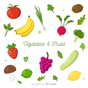 Flat vegetables and fruits background