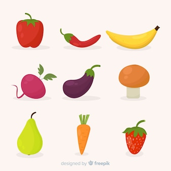 Flat vegetables and fruits set