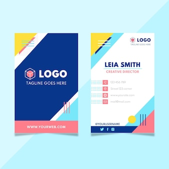 Flat vertical business cards