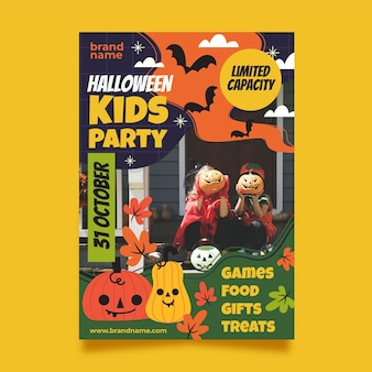Flat vertical halloween party flyer template with photo