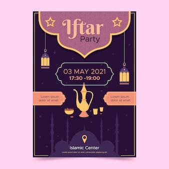 Плоский вертикальный шаблон плаката ифтара