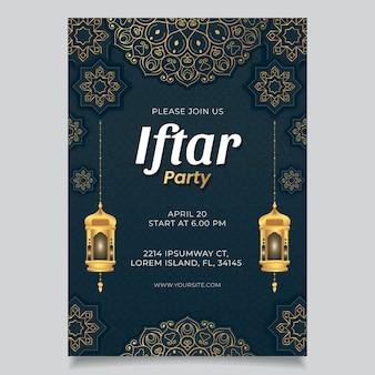 Flat vertical iftar poster template