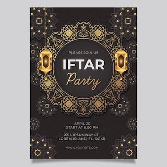 Modello di poster iftar verticale piatto