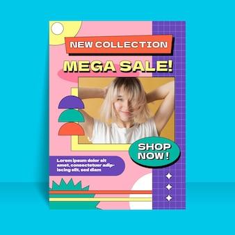 Плоский шаблон вертикальной распродажи с фото