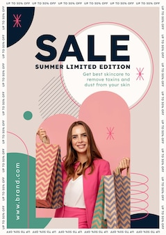 Flat vertical sale poster template with photo