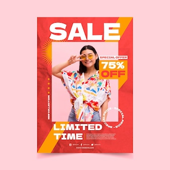 Flat vertical sale poster template with photo Free Vector