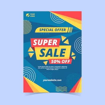 Flat vertical sale poster template
