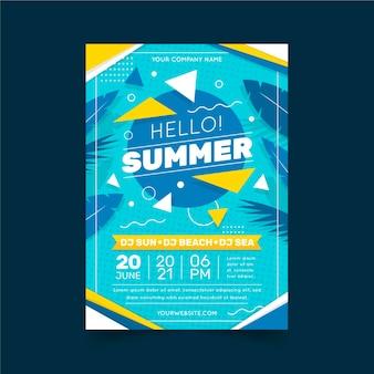 Flat vertical summer party flyer template