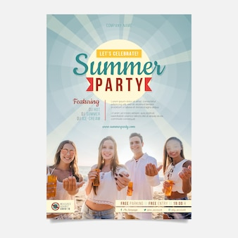 Flat vertical summer party poster template with photo