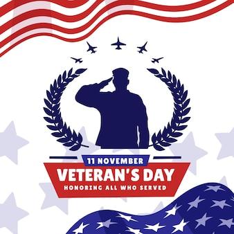 Плоский день ветеранов иллюстрации