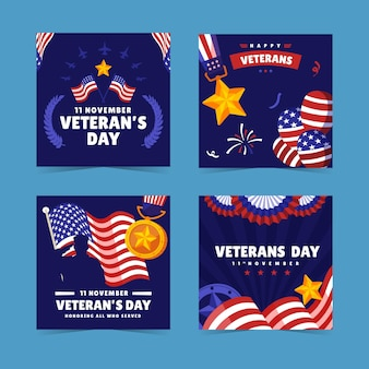 Flat veteran's day instagram posts collection