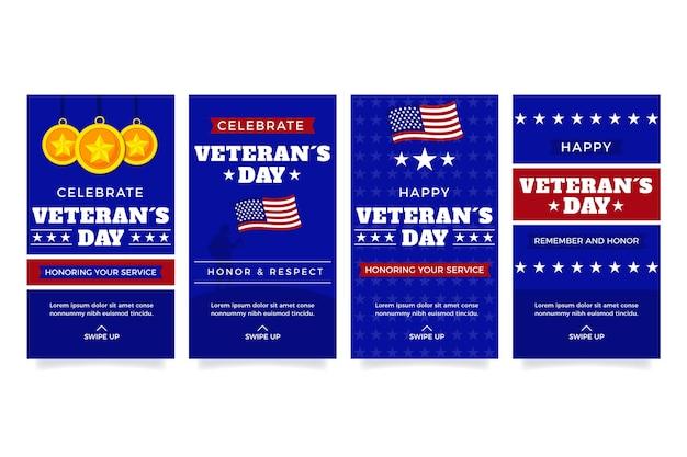 Flat veteran's day instagram stories collection