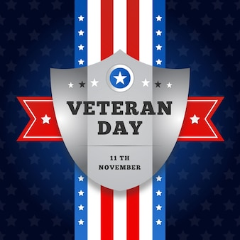 Flat veterans day with american flag and shield