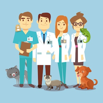 Flat veterinarians staff with cute animals
