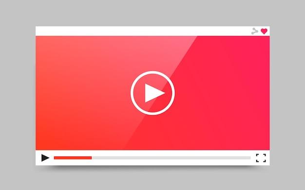 Web およびモバイル アプリ用のフラット ビデオ プレーヤー テンプレート。