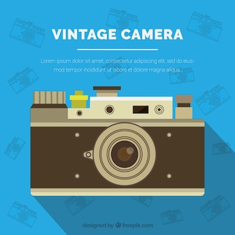 Flat vintage camera background