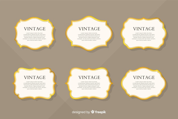 Flat vintage golden frame collection