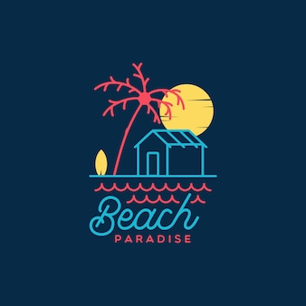 Flat vintage minimalist beach paradise logo
