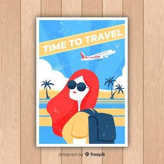 Flat vintage promotional travel poster