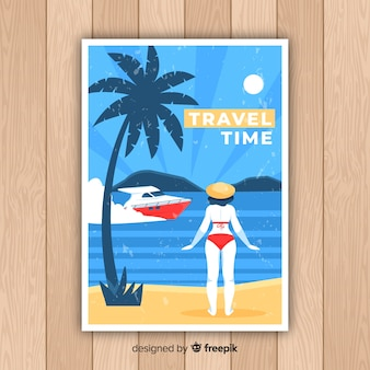 Flat vintage promotional travel poster